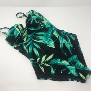 Old Navy Green Palm Leaf One Piece Swimsuit
